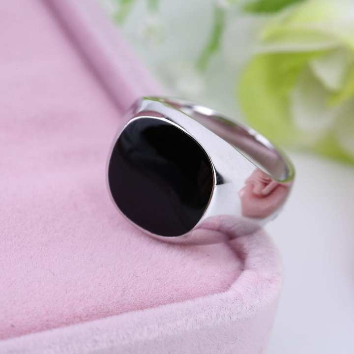 JO Non-Fade Stainless Silver Color Black Onyx Stone Engagement Wedding Ring - silver 8#