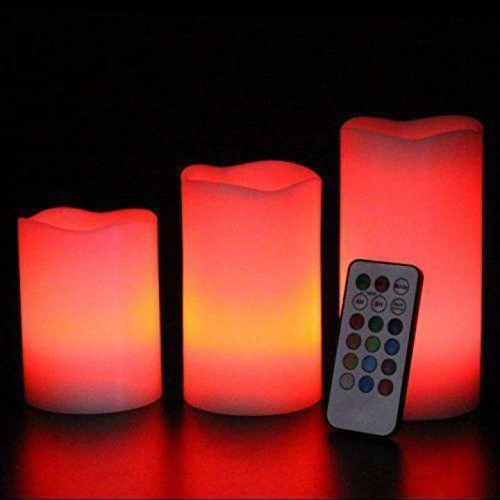 Set Of 3 Flameless Luma Candles Remote Controlled Color