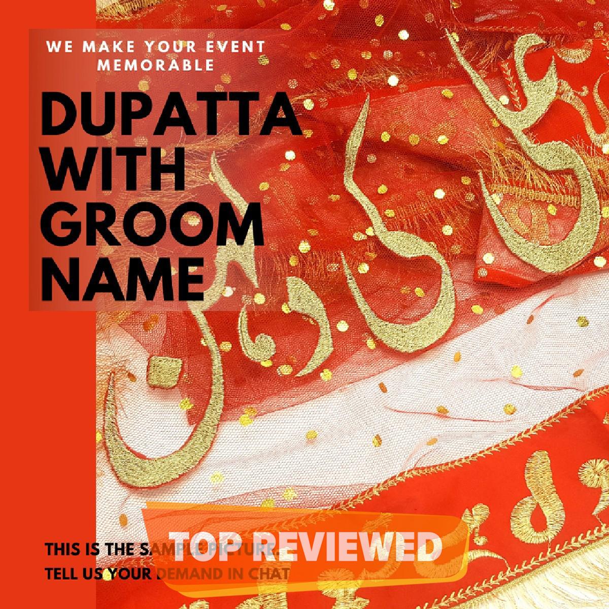 Qabool Hai with Groom Name Customization Bridal Net Fancy Dupatta Wedding Nikah Party - RED - Fine Tailored Stitch Nikkah Duppatta For Shadi Qubool Hai Lace Dupata For Girls Women