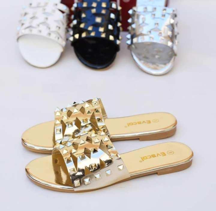 Golden Flat Slipper For Women