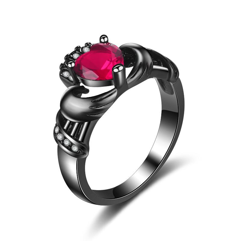 Engagement Collection Black Luxurious Shiny Red Zircon Heart Rings for Girls & Women - RK043L-B