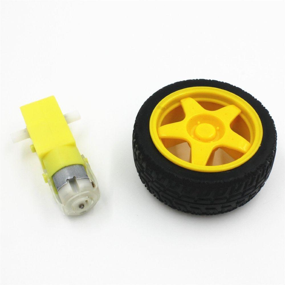 DC Gear Motor with wheel Smart Car Robot DC Gear motor with rubber wheel