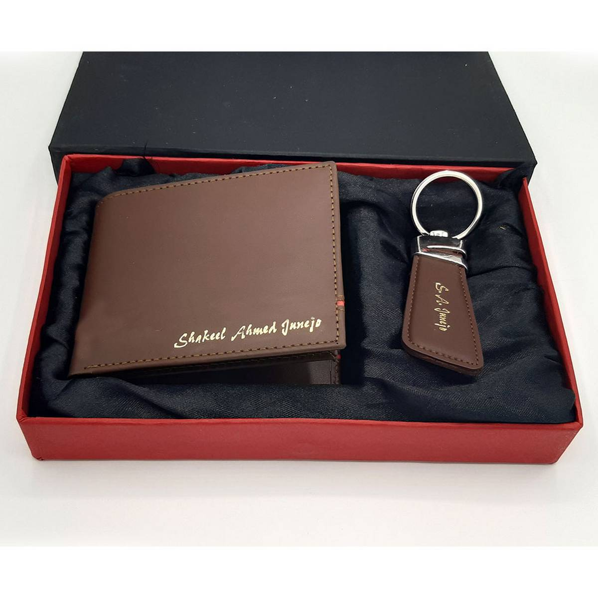 Genuine Cow Leather  Wallet and Key Chain Set of Pure Cow Leather ( NAME CUSTOMISATION )