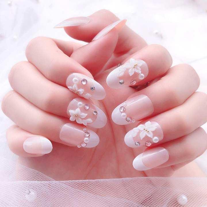 Fashion The Bride False Nails Flower Pattern  Pattern Fake Nails Lady A26