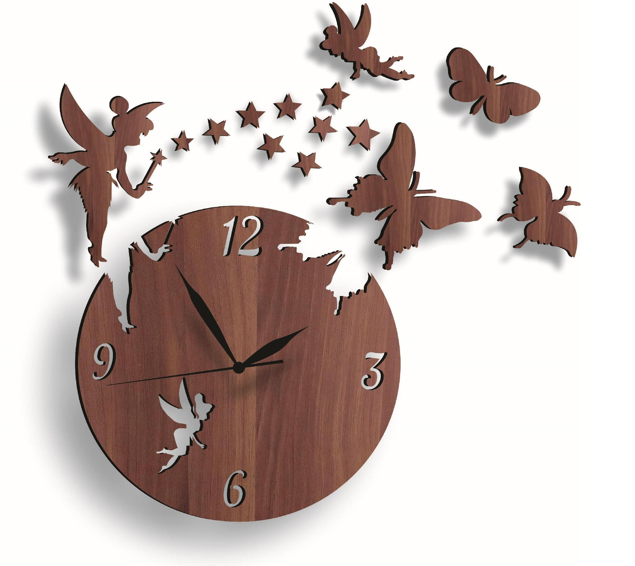 3D Home Decor wooden Wall Clock In Modern Fairy With Stars & Butterflies with 3mm sheet
