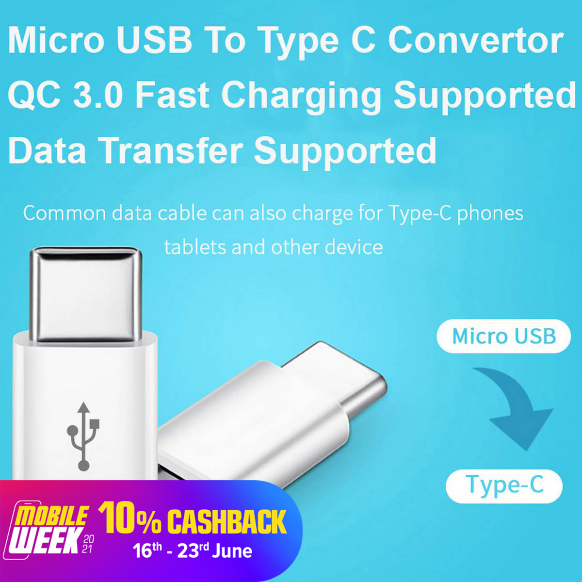 Micro USB to Type C Adapter / Male to Female / Fast Charging + Data Transfer / Converter / Connector - White