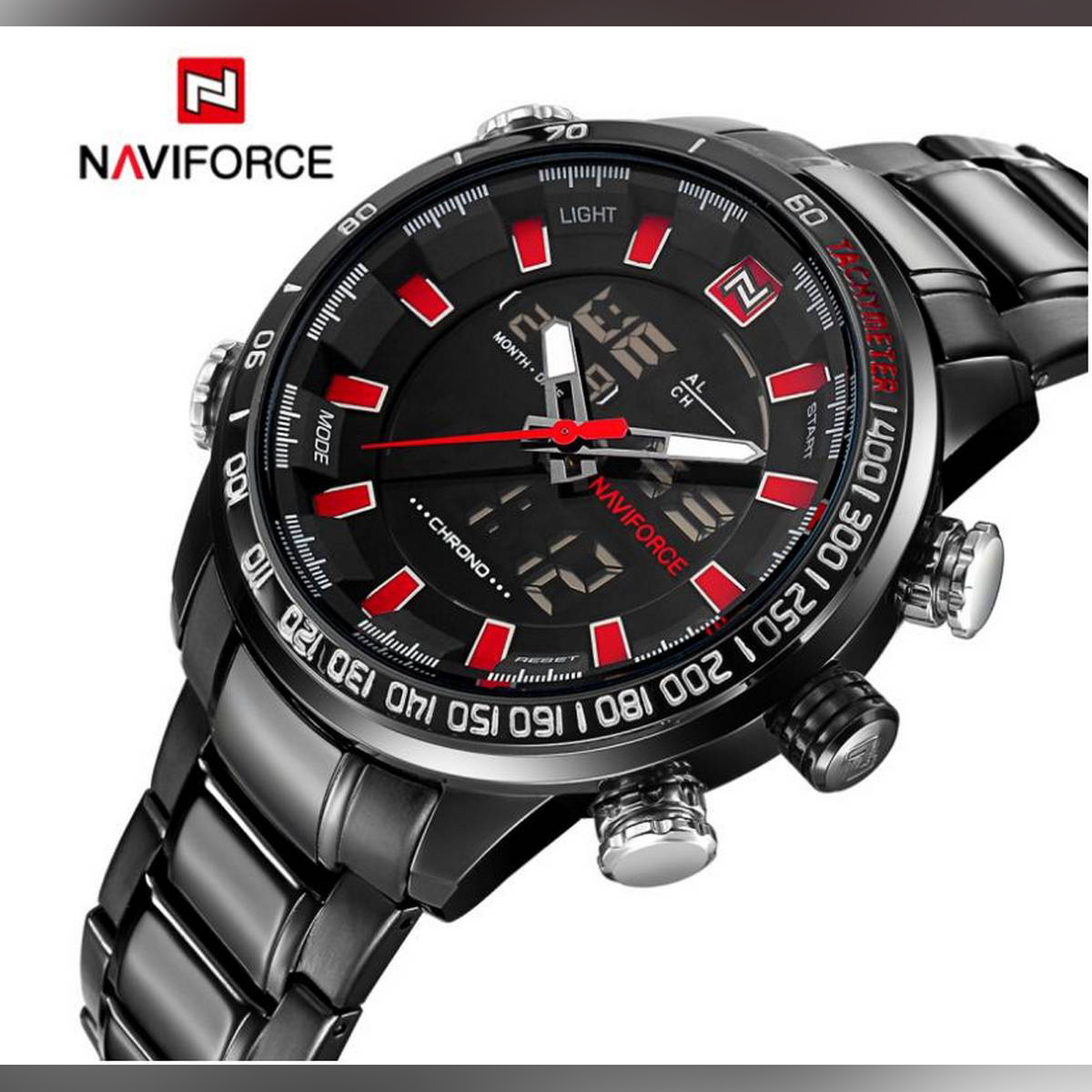 Naviforce NF9093 Stainless Steel Dual Display Men's Watch With Brand Box