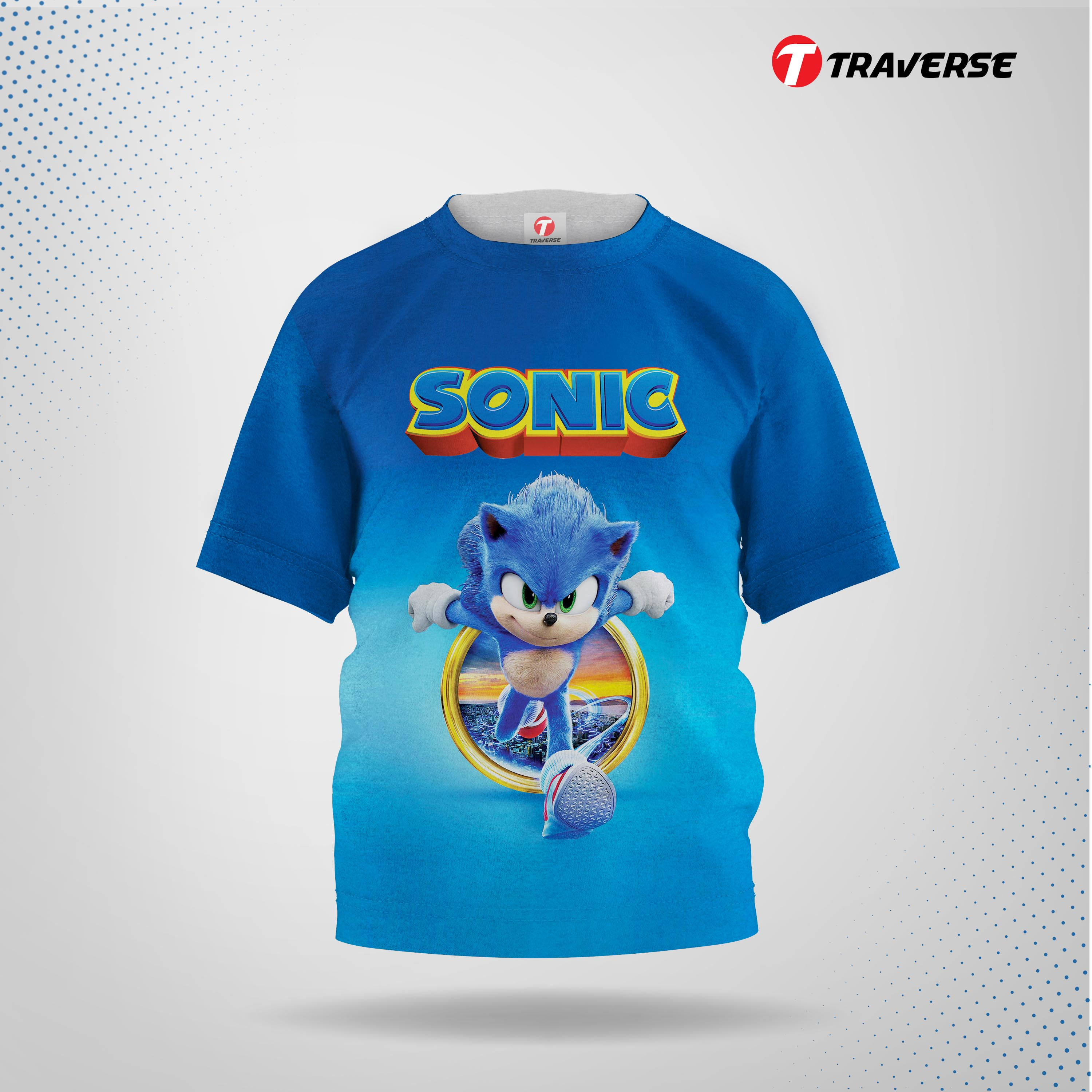 Sonic Digitally Printed Fashion T-shirts for  Kid's by Traverse