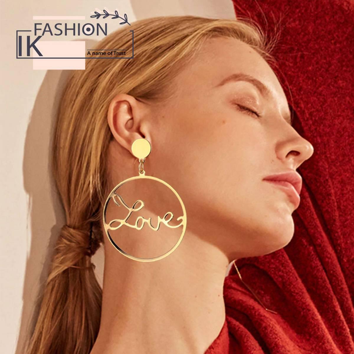 IK Fashion - Big Circle Hollow LOVE Earrings for Women Geometric Round Bohemian Dangle Earrings 2019 Trendy Statement Jewelry