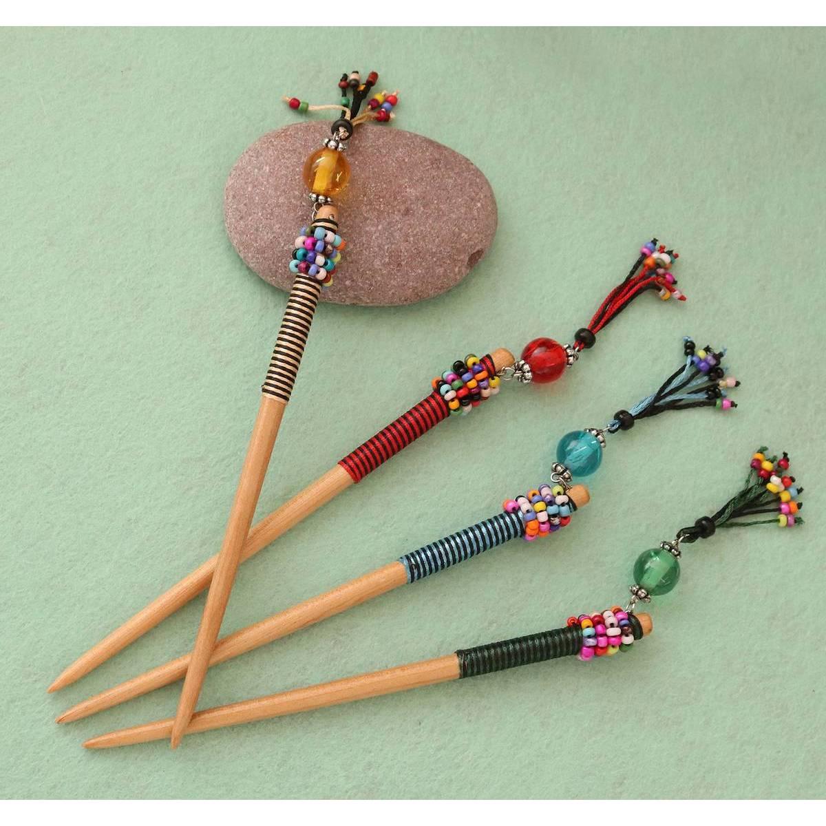 (Pack of 4) Fancy Durable Wooden Hair Jura Stick Hair Hodkin Kanzashi Binyeo Bun Stick Hair Stick For Girls, Women and Ladies