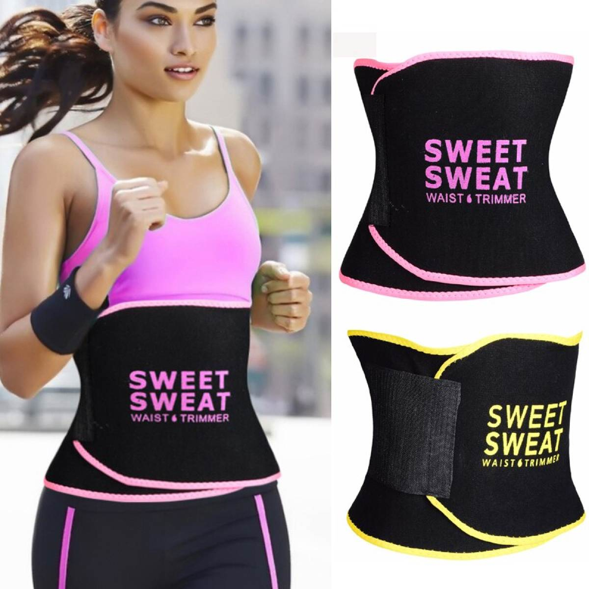 Super Duper Store Best Quality Waist Trimmer Sweat Belt Weight Loss Waist Trainer Slimming Belt for Men and Women Fat Burner Low Back Support Shaper - Black