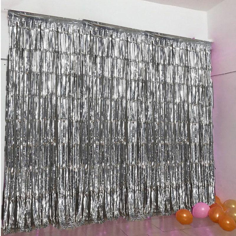 Silver Foil Curtains , size 6 Feet Width & 5 Feet Length ,  Best for Birthday , Wedding , Engagement , Bridal Shower , Baby Shower and Anniversary parties Back drop Decorations