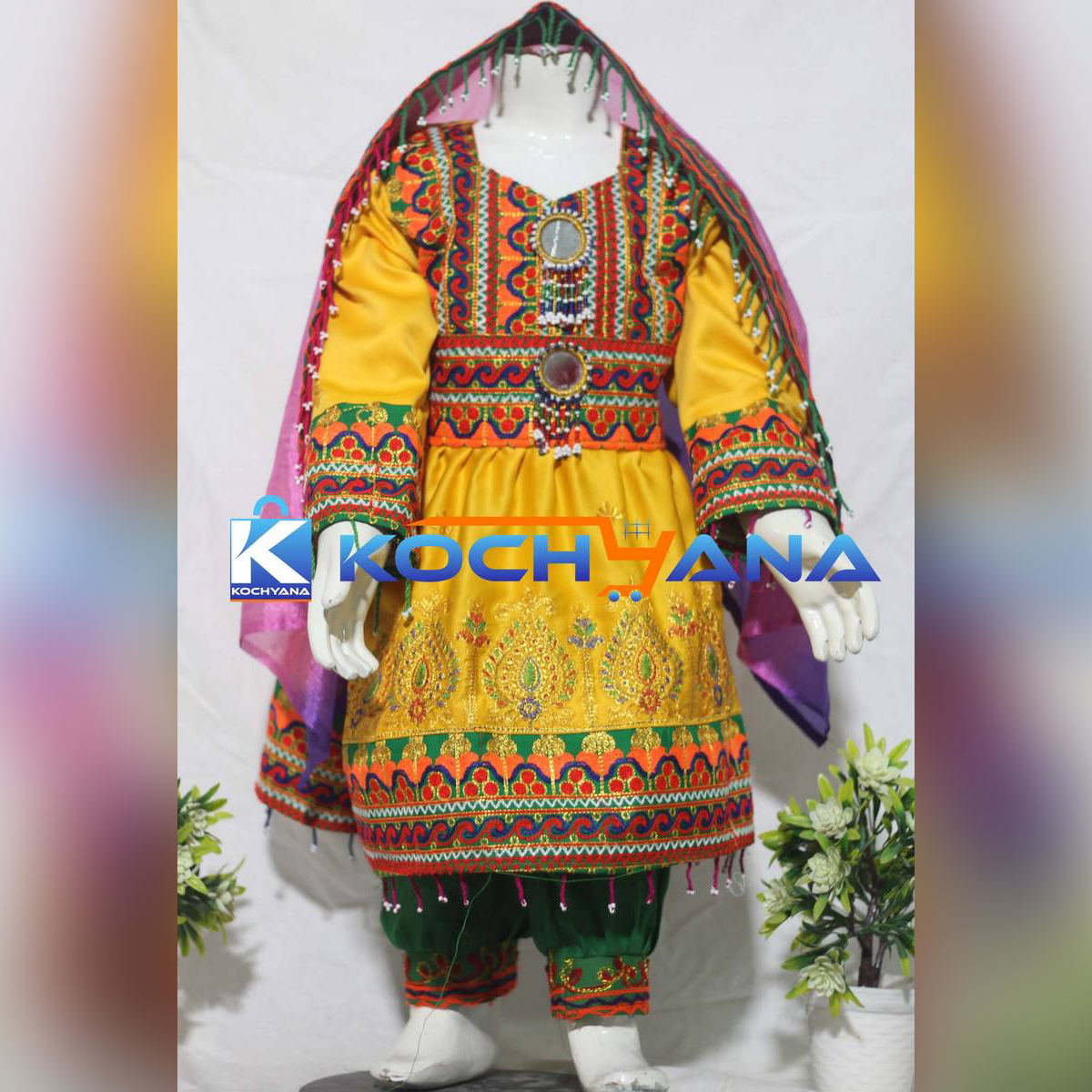 Afghani frock for kids- Traditional Frock For kids Yellow