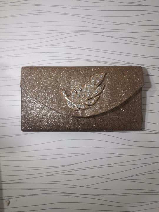 Clutch hand bag with long chain