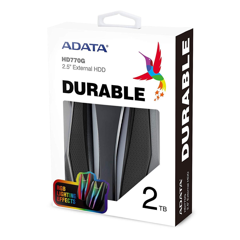 ADATA 2TB HD770G RGB USB 3.2 IP68 Waterproof Dropproof Dustproof External HDD Black (AHD770G-2TU32G1-CBK)