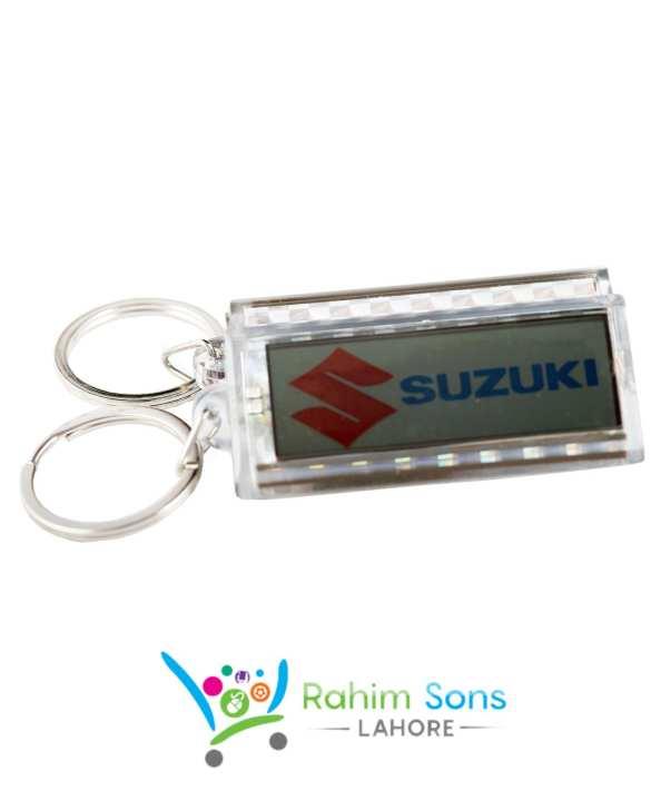 RS High Class Solar Charging Key Chain Suzuki Logo with Metal Ring