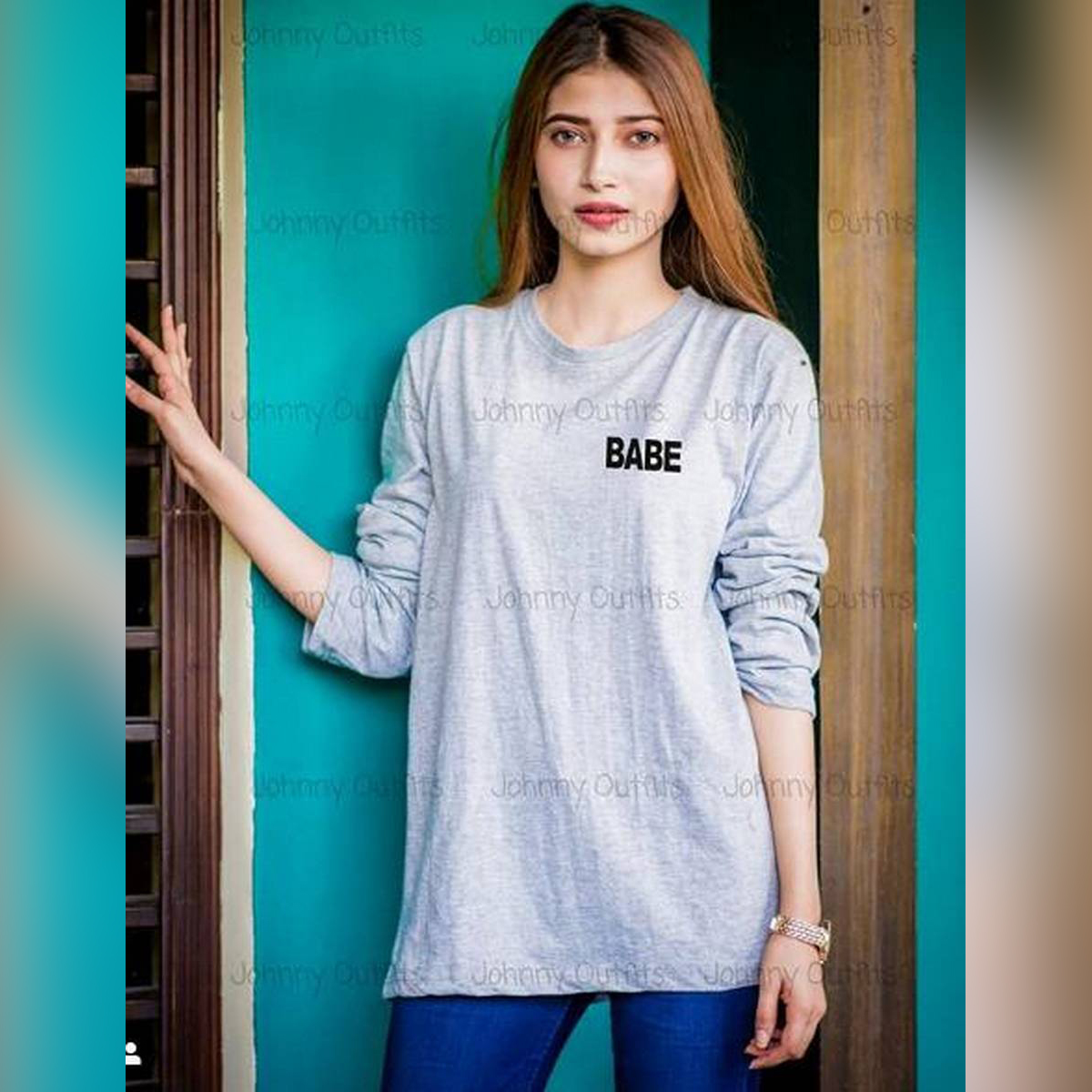 Babe Grey Full Sleeve Printed T-shirt For Women Casual Cotton tshirts For Lady Top Tee