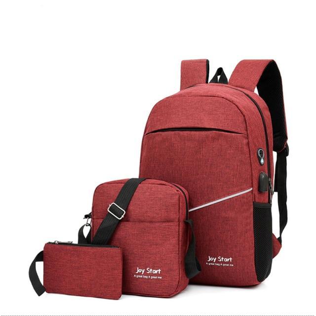 3 Piece Fashion Stylish Laptop School College University Travel Backpack for Boys Girls USB Port Backpacks for Men Women 3in 1 bag pack