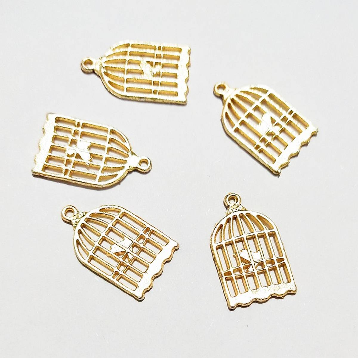 Cage Charms 5pcs Golden  Color Metal Alloy Jewelry DIY Accessories