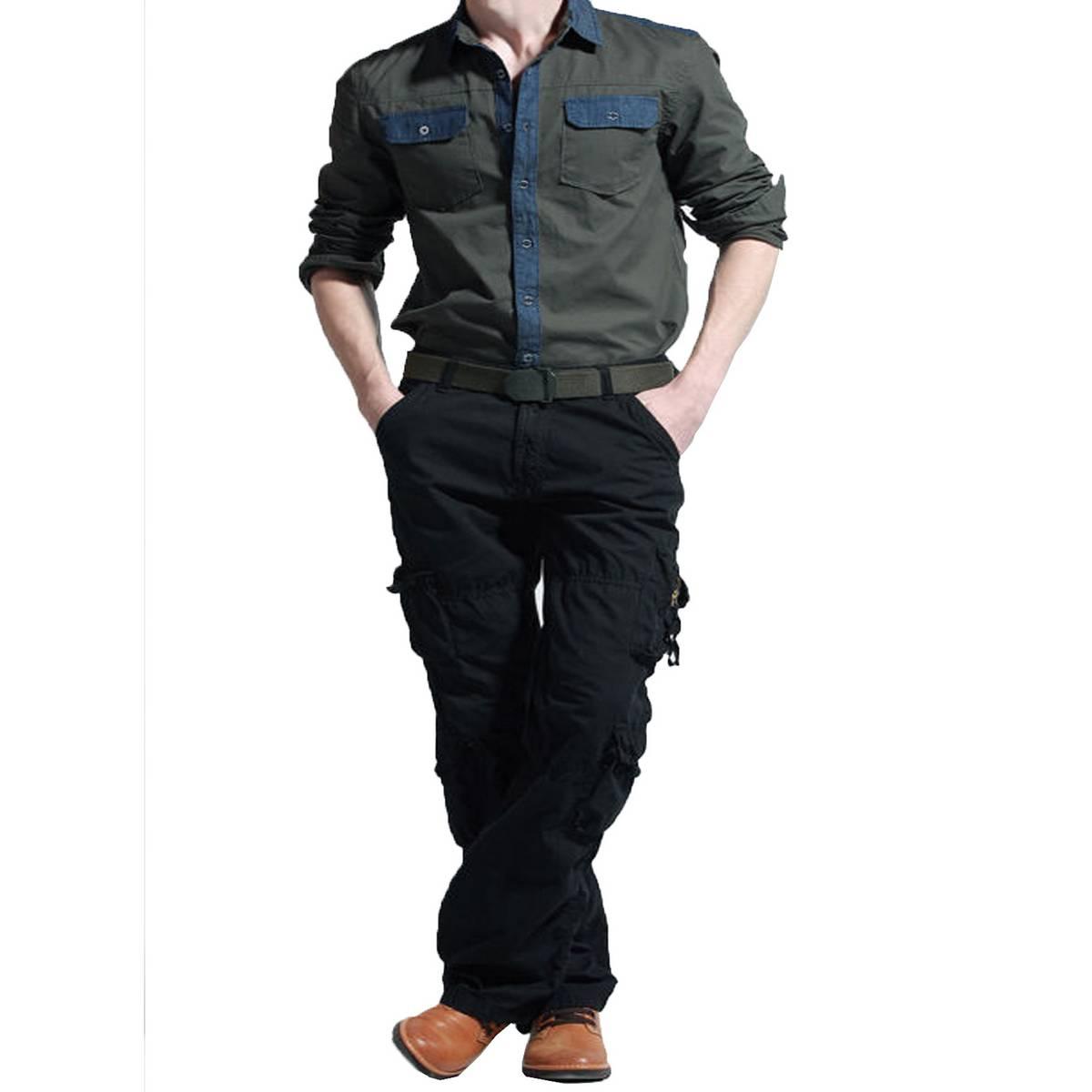 Men cargo black trouser T-001