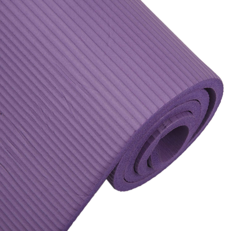 Yoga Mat Anti-slip 6mm Thick Gym Matt with Carrier Strap - Fitness Workout Mat Anti-Tear Durable Exercise Mat Sports Yoga Mats