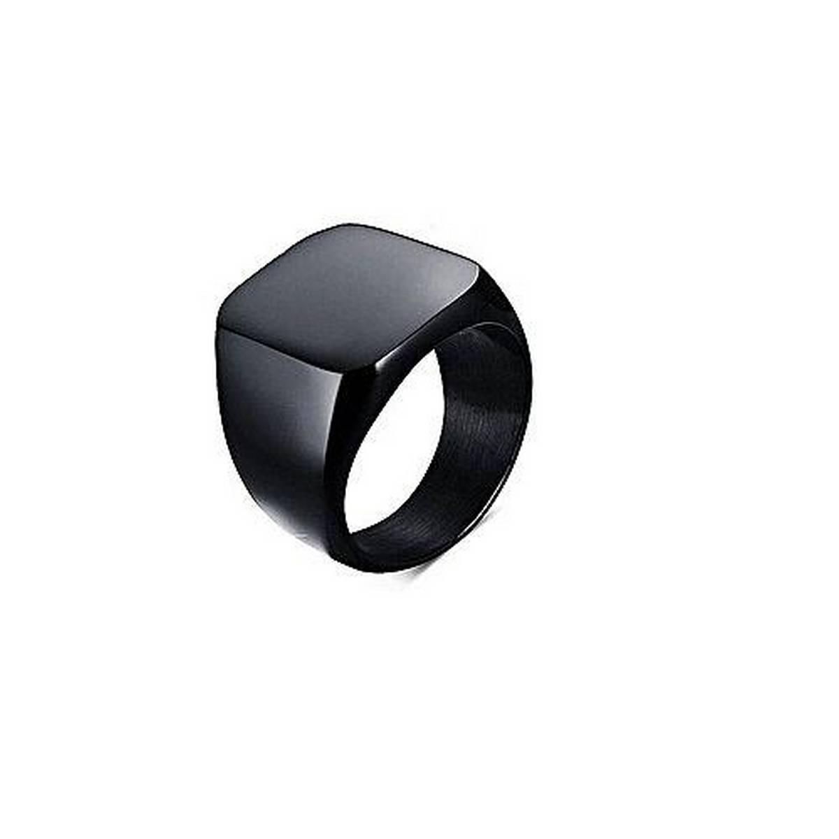 Black Titanium Punk Ring For Men