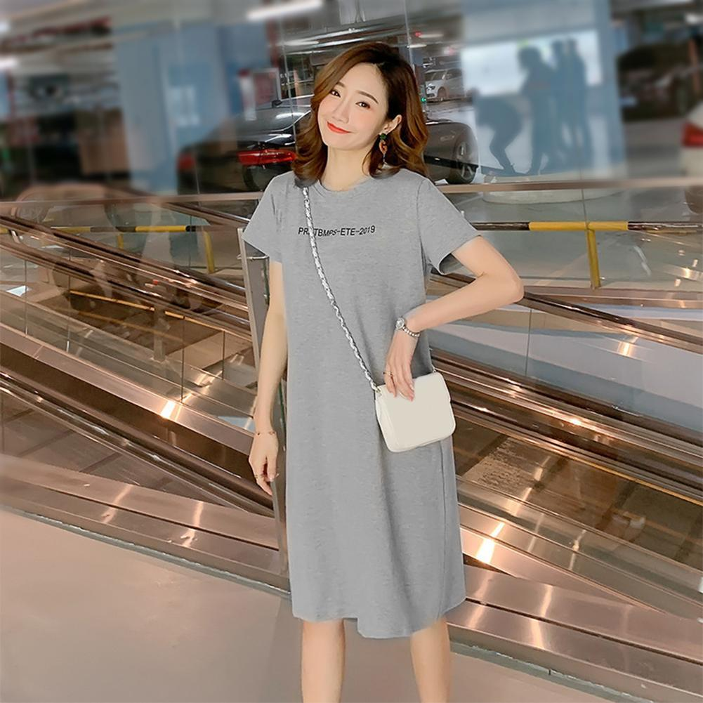 【ALLGOOD】Fashion Simple Korean Letter Print T-shirt Dress Women O-neck  Short Sleeve Cotton Slim Dresses