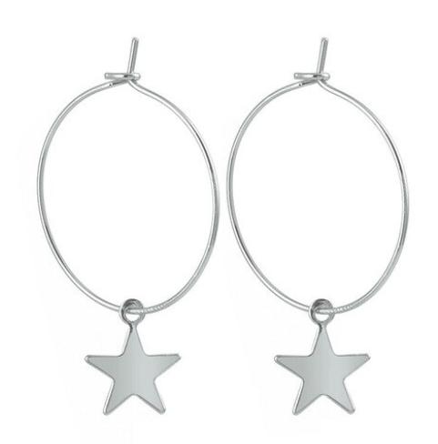 Korean Style dangler Women eardrop Girls Ear Studs Trendy Hoop Large Circle Star Dangle Drop Earrings Golden color