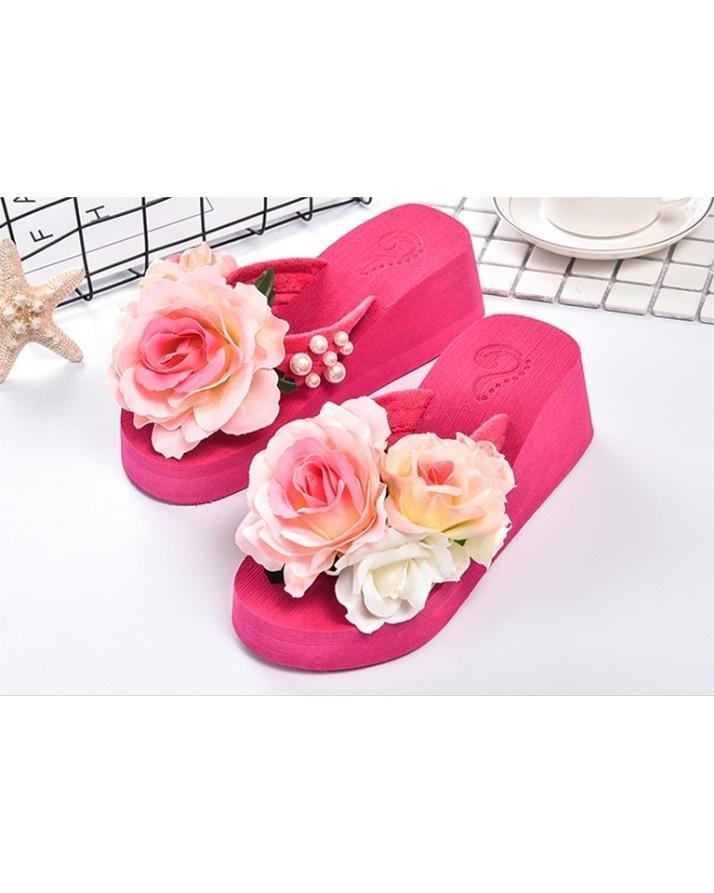 c46bd634f Flower Flatform Handmade Pearls Slippers Jelly Color Hawaiia - Shoes for  Women