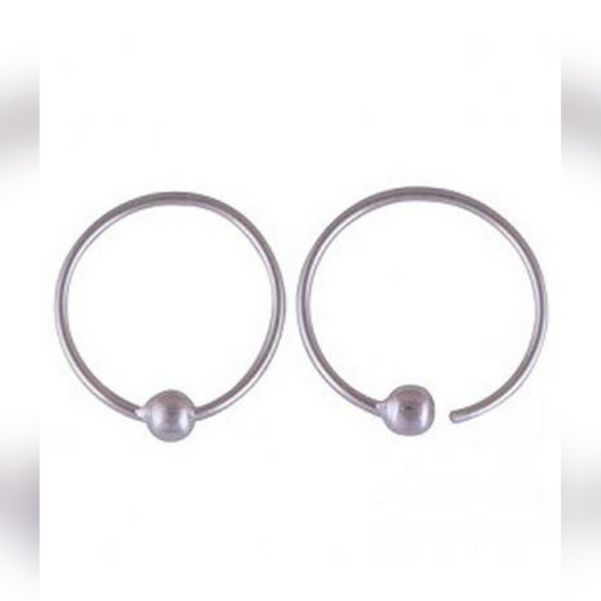 Silver (Chandi) Hoop Earrings with gift box (Delicate silver)(For daily use)(Small hoop earring)(Pure silver)
