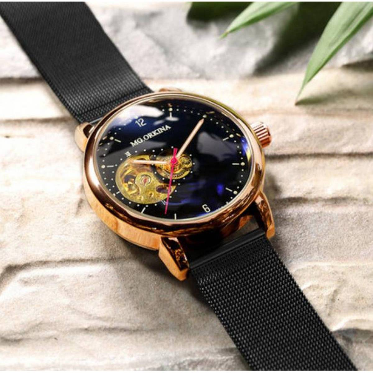 Automatic Skeleton Mechanical Wrist Watch for Men