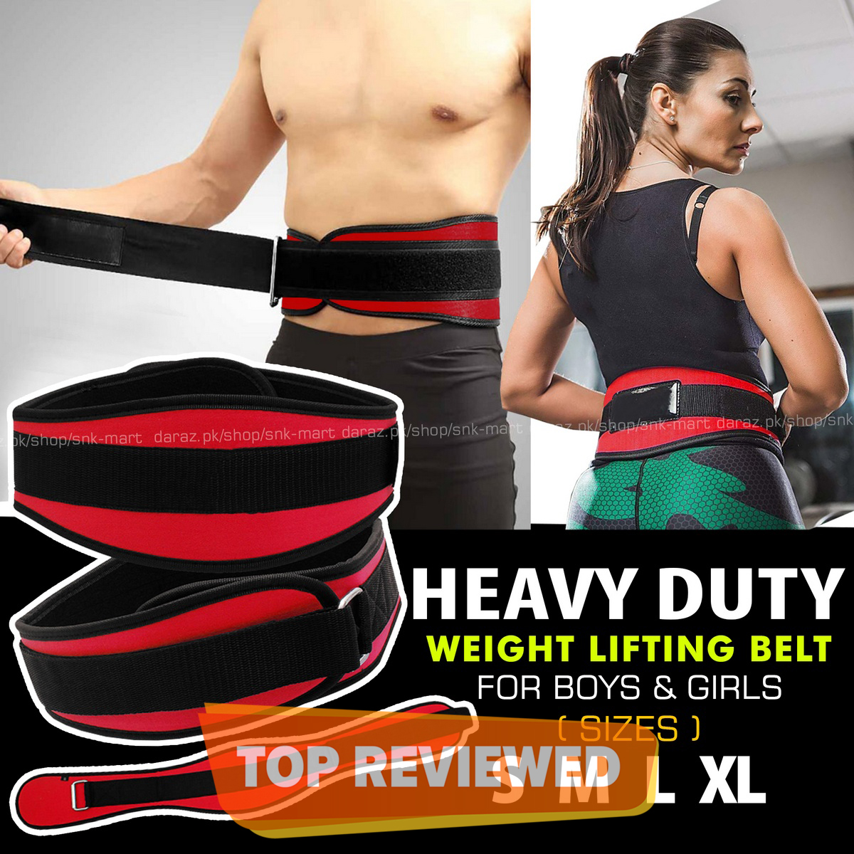 Weight Lifting Gym Fitness Power Belt Back Pain Support Belt - S M L XL