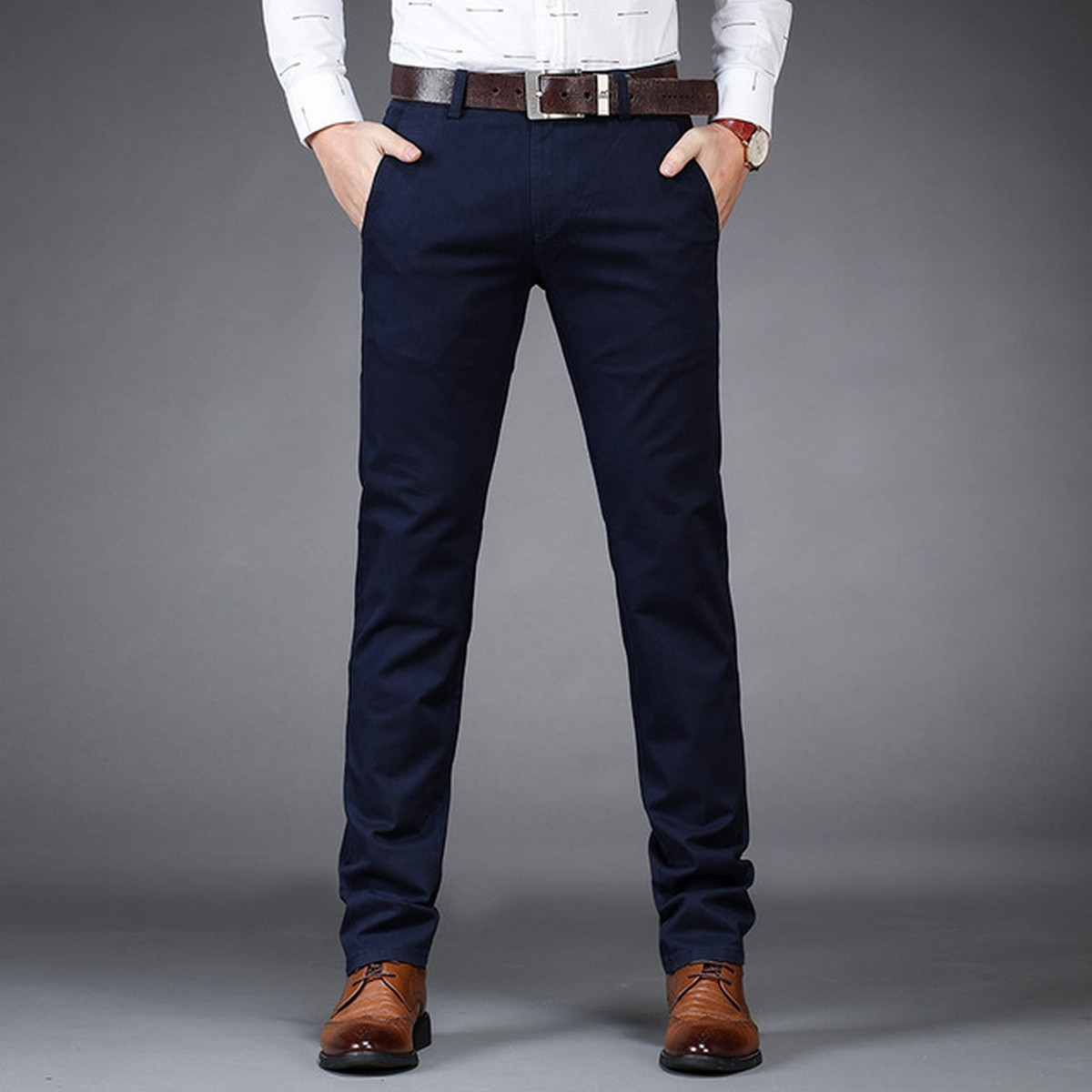 New Men's Casual Basic Pants Business Cotton Jeans Regular Straight Pocket Stretch Pants in Navy Blue Color  Trending Fashion