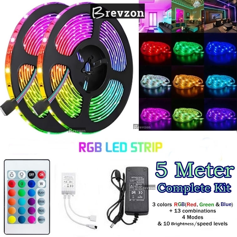 RGB led strip light - For Gaming Room - 15ft/5Meter RGB Lights For Gaming PC -  Color Changing - Waterproof RGB led Light -with  Remote Control led strip - Complete Kit