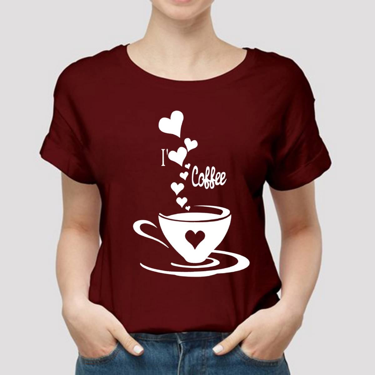 Classy TEA Theme Tag Print Mustard Colored Summer Top Half Sleeve Tee Shirt Round Neck Cotton Trendy T-shirt Casual Tshirt Spring Wear Smart Fit Half Sleeve Tee Shirt for Women/Girls