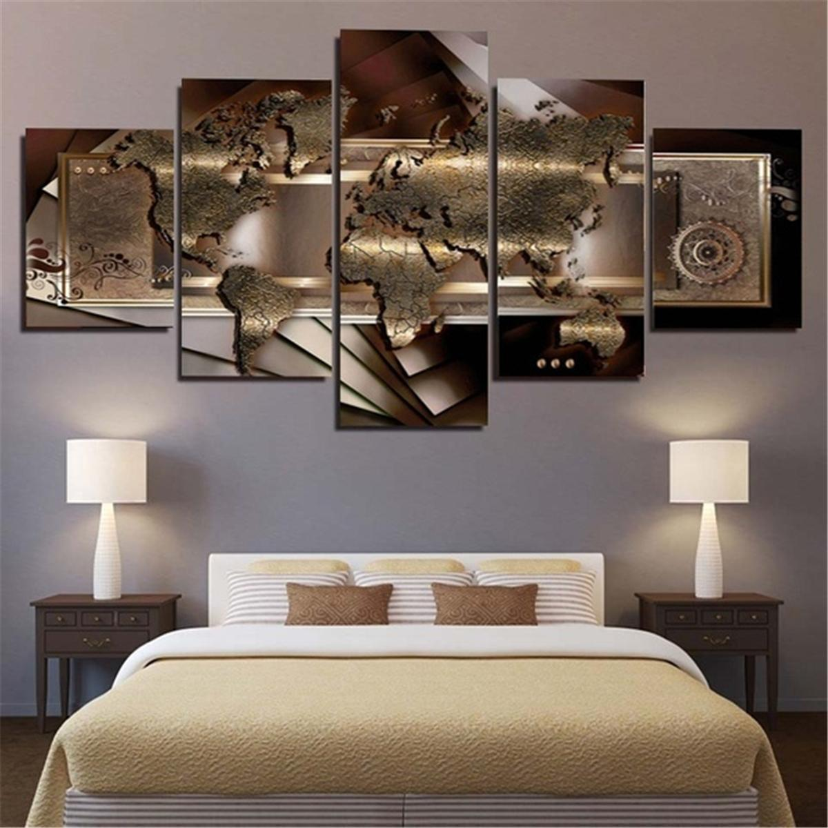 5 Panels Modern Map Wall Art Picture Home Wall Art Canvas Painting Living Room Bedroom Wall Decor: Buy Online at Best Prices in Pakistan | Daraz.pk