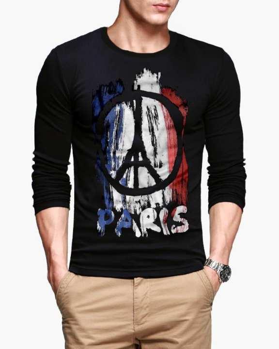 Black Paris Printed Full Sleeve T-shirt