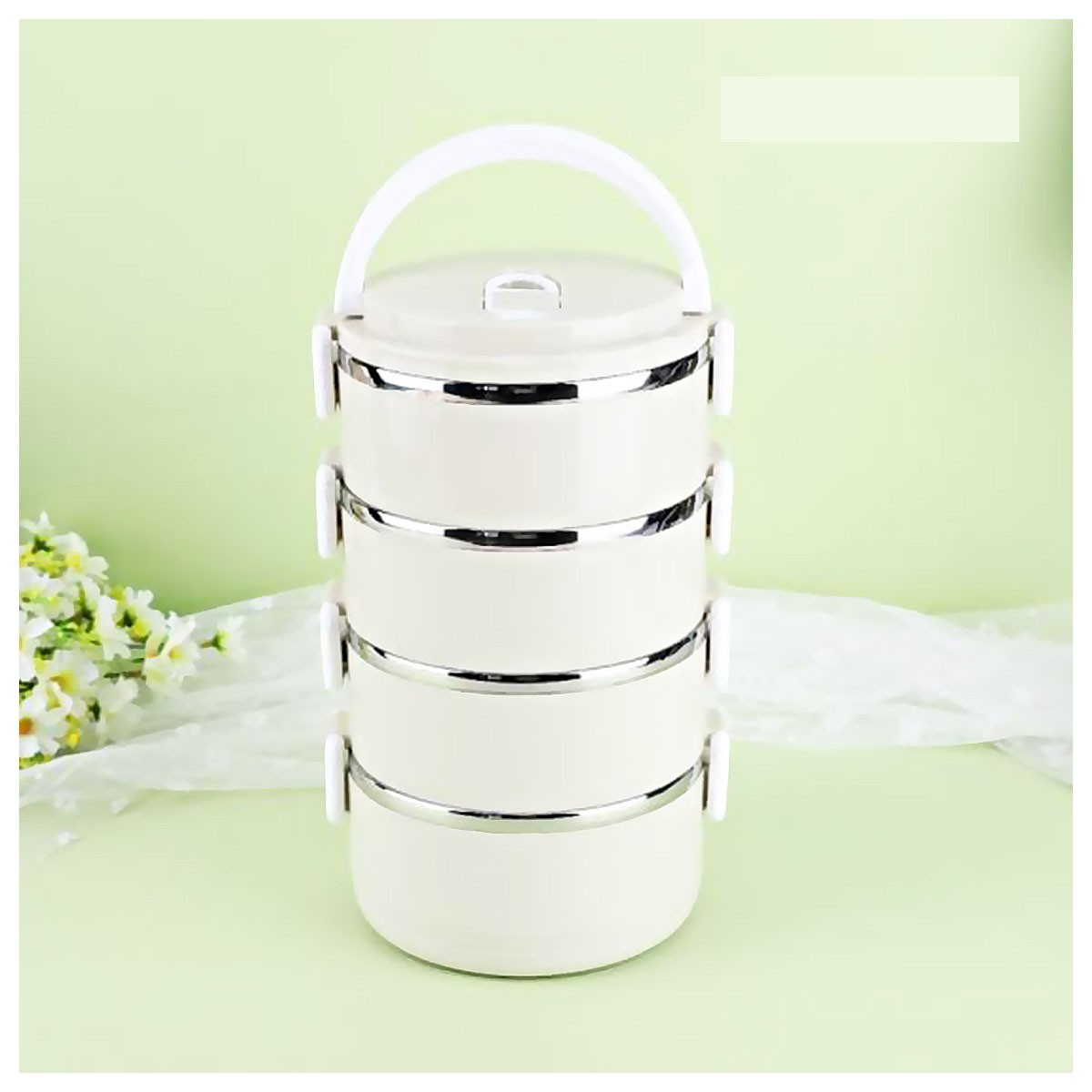 4 Layer Easy Portable Stainless Steel Office And School Lunch Box