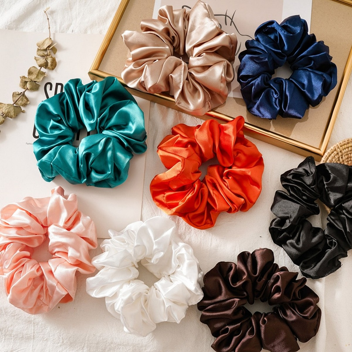 Scrunchies for girl hair top quality Silk Pack of 3