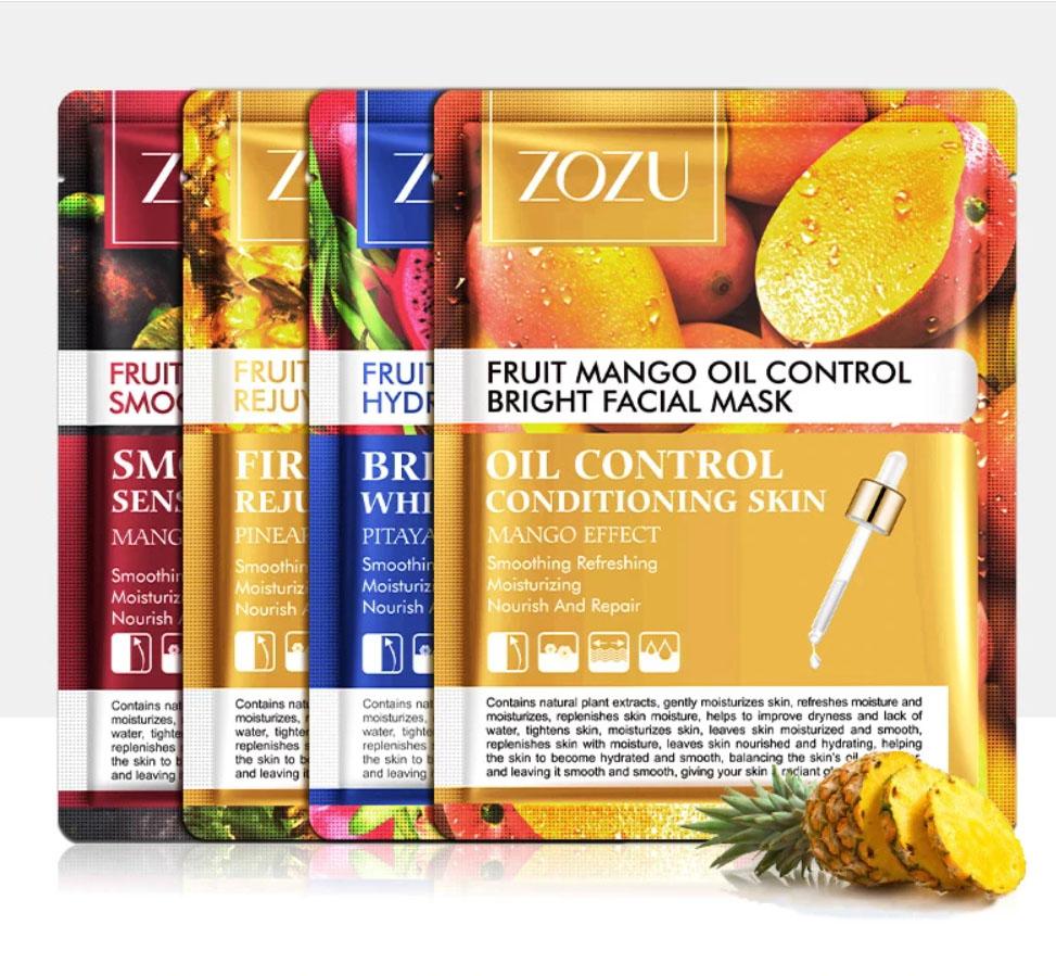 ZOZU 3 Pcs Fruit Sheet Mask Skin Care Korean Facial Mask Anti-Aging Oil-Control