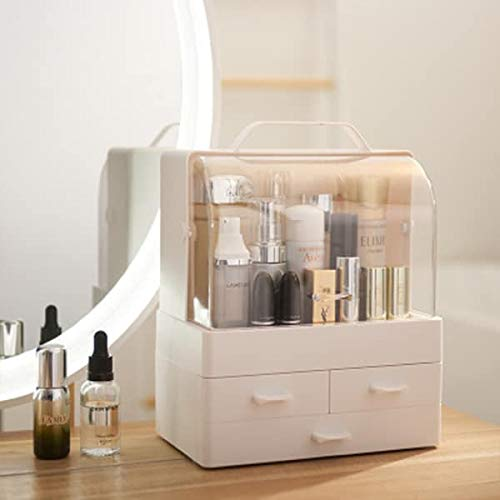 Modern Cosmetic Organizer Makeup Storage Holder, Display Make up Caddy Shelf Organization Boxes Case Dustproof, Handle and Drawer on Countertop