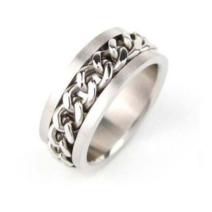 Titanium Steel Silver Chain Ring for Men / Women