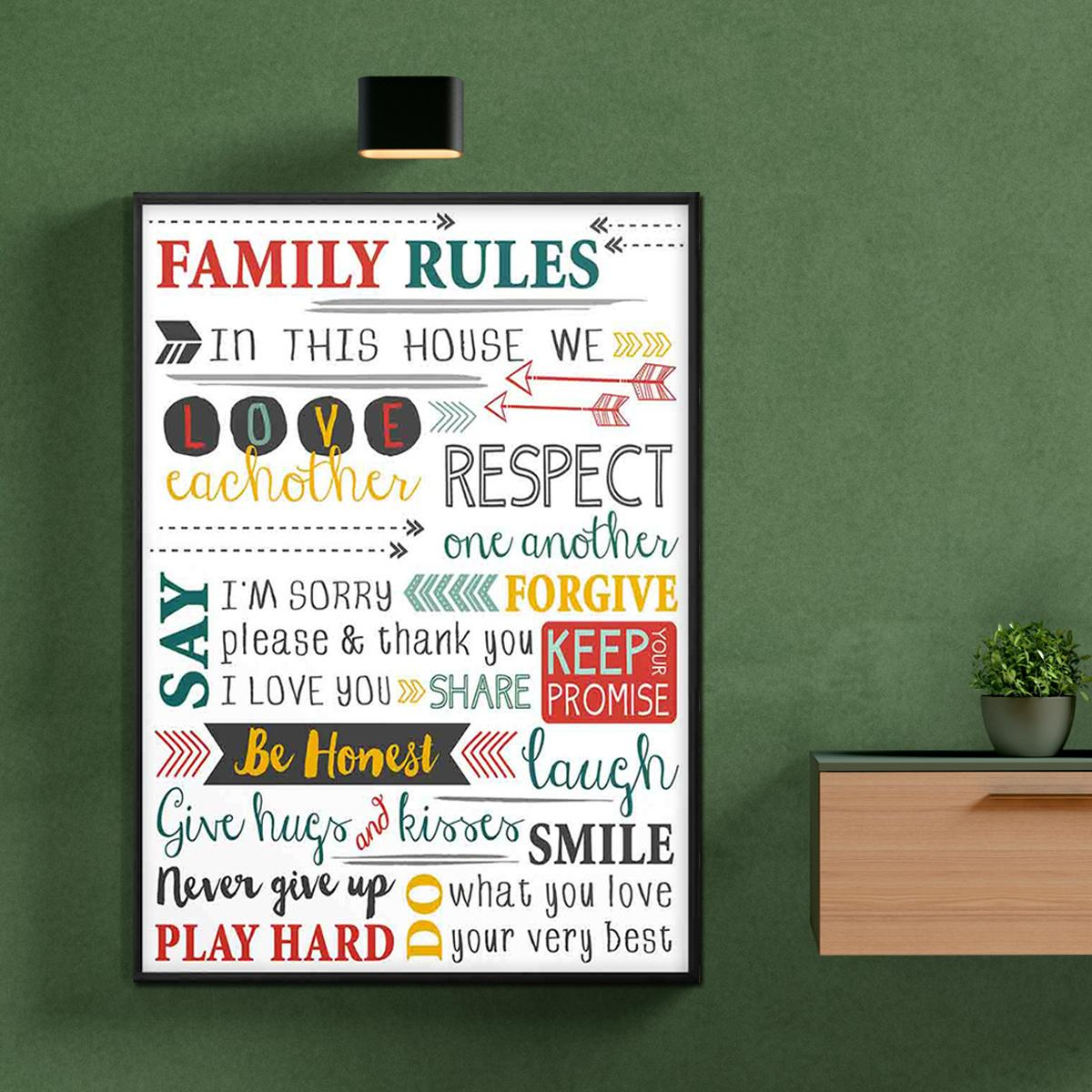 Motivational Frames Wooden Digital Print Family Rules Love Motivation Typography Frame For Table and Wall Decor