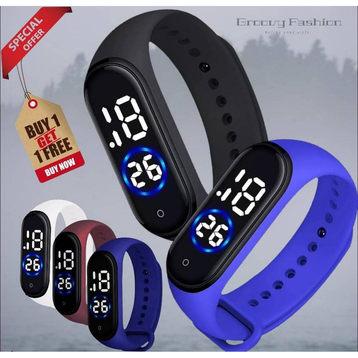 Buy 1 Get 1 Free Multicolor M4 touch Led Bracelet Digital Watch Band - Unisex