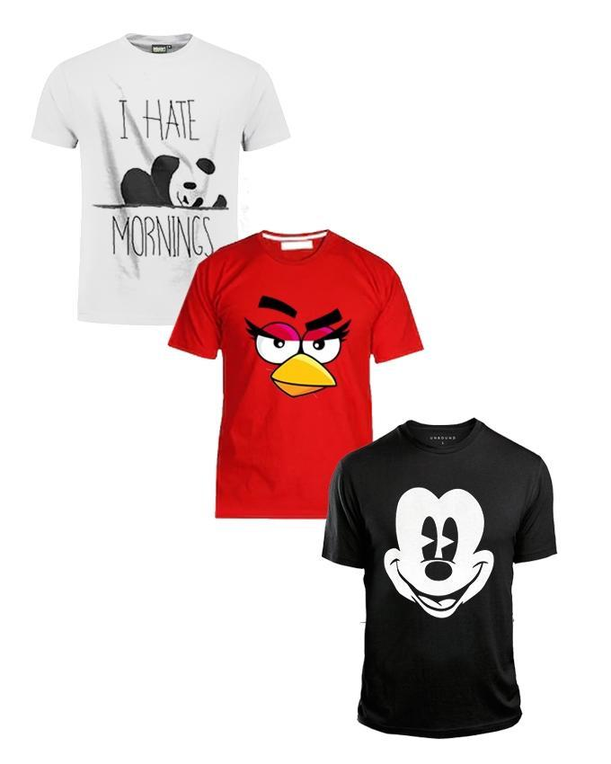 Pack OF 3 Printed T - Shirts For Girls & Women S24