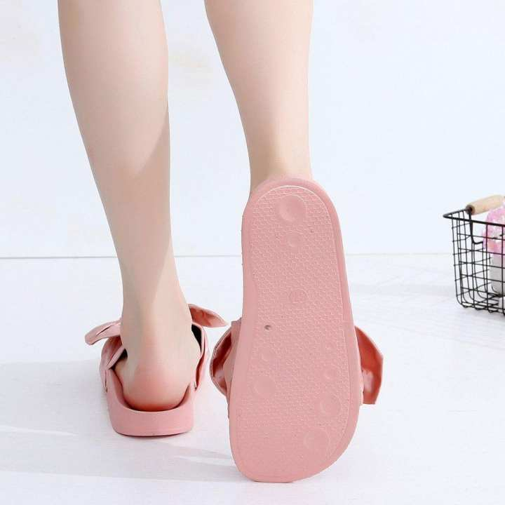 JO Satin Bowknot Slip-on Slippers Comfy Flat Sandals Holidays Sandals Shoes - pink 39