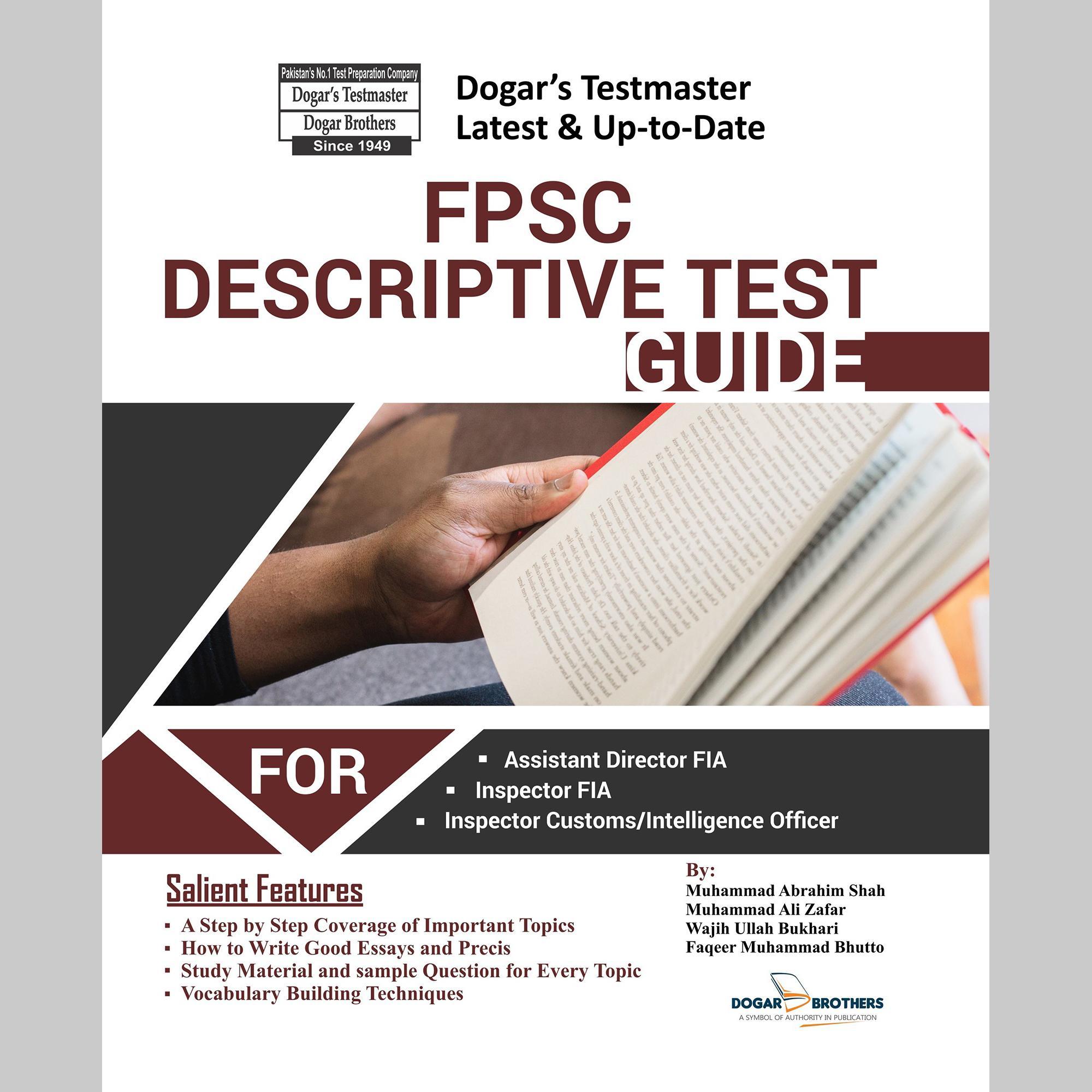 FPSC Descriptive Test Guide For Assistant Director FIA / Inspector FIA /  Custom Inspector / Intelligence Officer by Dogar's Testmaster 2019