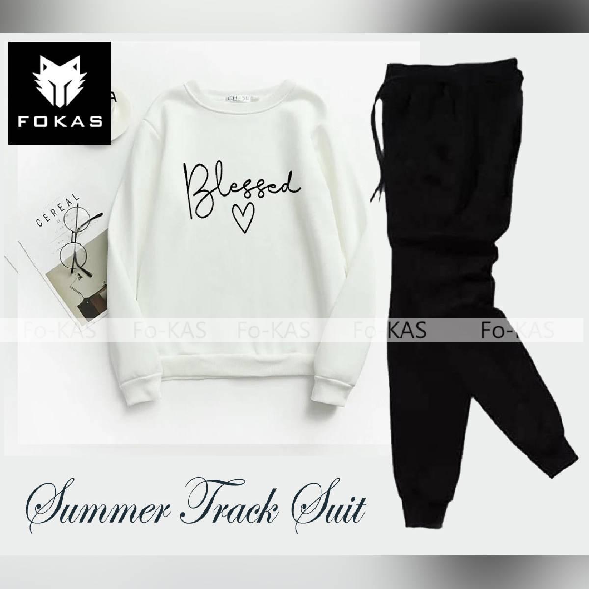 Blessed Printed Summer Fabric Ribbed Long Sleeves T-Shirt & Trouser  for Summer Elegant Tracksuit for _Girls & _Women Trendy Wear