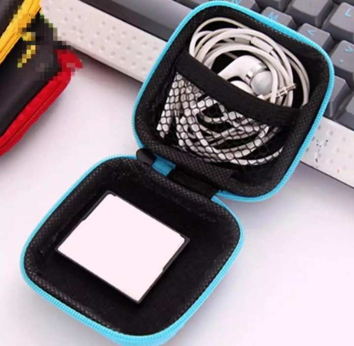 Zippered Stereoplasm Earphone Protection Box PU Storage Bag Package Pocket For