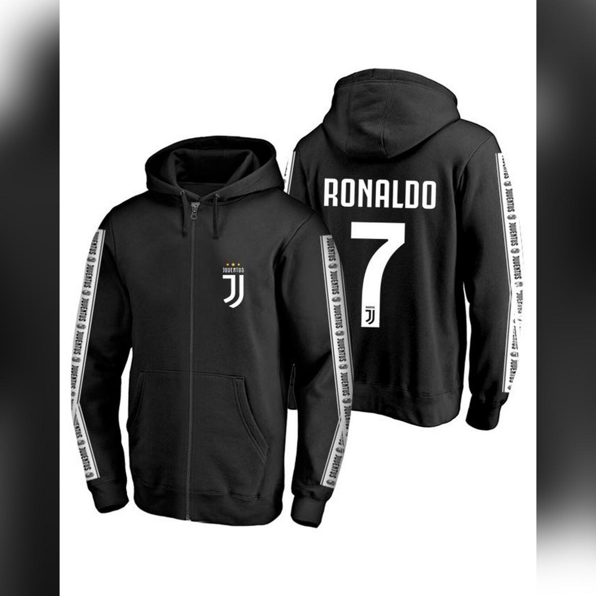 Ace - Ronaldo 7 Number Juventus Tape Sleeves Hoodie 2019 for Him
